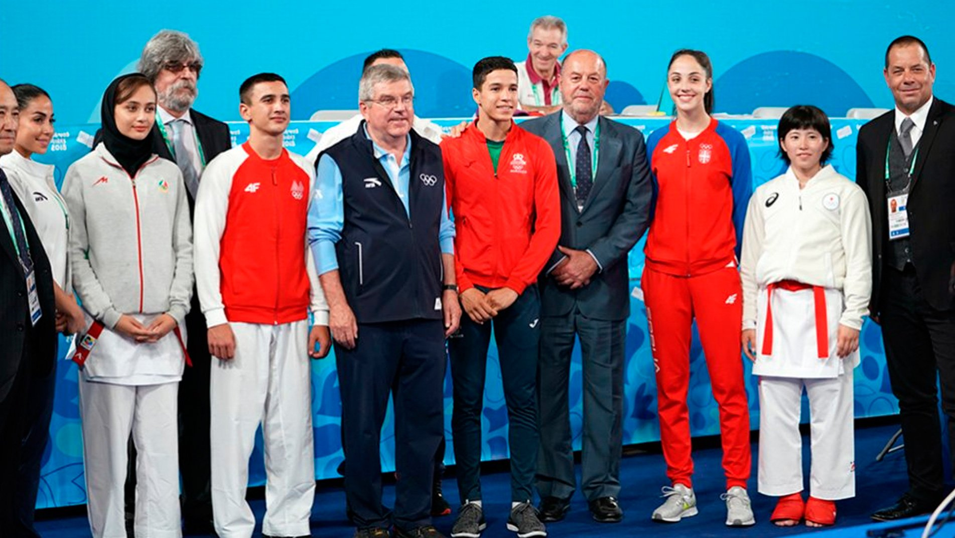 IOC President Thomas Bach attends Karate competition at Youth Olympic Games